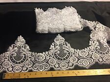 White French Design Embroider And Corded Trim-wedding-bridal-8 Inches Tall-Yard.