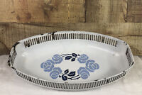 Vintage Blue and White Enamelware Bread Serving Dish Blue Flowers Germany