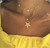 Fashion Women Multilayer Gold Chain Choker Crystal Necklace Star Pendant Jewelry