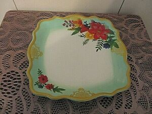 """Pioneer Woman Winter Bouquet 10.5"""" Square Plate Hard to Find Floral Holiday"""