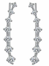 White Gold Plated Silver Ear Climbers CZ Crawler Earrings 24mm 1 inch