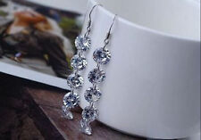 Lady Womens Dangle Earrings Round Earring Hot Silver Hook Long Crystal Drop