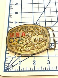 Vintage 1988 Olympic Belt Buckle Seoul and Calgary Olympic Games