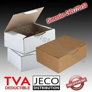 Boites postales d'expédition carton marron ou blanche 240x170x50mm Lots 5 à 400