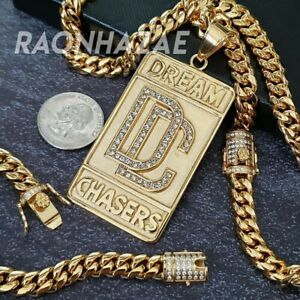 GOLD HIP HOP STAINLESS STEEL DREAM CHASER DC PENDANT W/ 8MM ICED CUBAN CHAIN