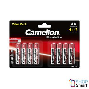 8 CAMELION AA PLUS ALKALINE BATTERIES LR06 MN1500 AM3 E91 1.5V 8BL EXP 2027 NEW