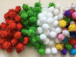 BB 15mm GLITTER POM POMS - pk of 25/50 Christmas craft choose colour or mixed