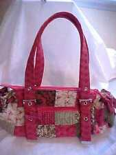 DONNA SHARP Patchwork Quilted SATCHEL Purse * Pinks, Greens, Beige * Appears NEW