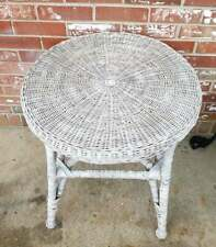 Vintage Wicker Table Round White Washed Rattan Bamboo