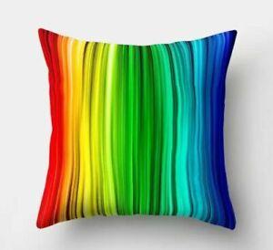 "Multicoloured Rainbow Design Cushion Cover 17"" X 17"" Home Sofa Decor"