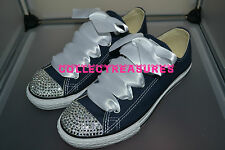 Custom Crystal Diamante Bling Navy Lo Top Converse Trainer Size UK 3 4 5 6 7 8 9