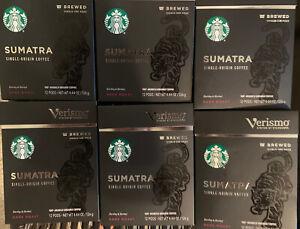 6 Pk STARBUCKS Verismo Sumatra Coffee Dark Roast Pods 72 Ct.Total Best By 5/2021