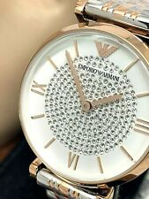 Emporio Armani Women's Watch White Rose Gold Silver Pave Stainless Steel AR1926