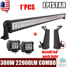 "52""inch 300W Led Light Bar+4"" 18W+Mount Bracket Fit For Jeep Wrangler TJ 1997~06"