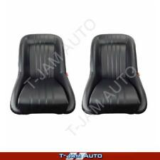 Classic Low Back Pair 2 x Black Leather Car Bucket Seats - Ford Capri NEW