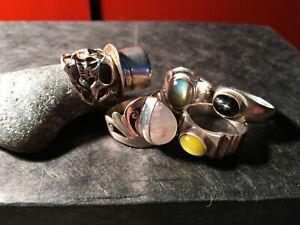 5 Ringe Sammlung 925 Silber Labradorit Mondstein blackstar Katzenauge Totenkopf