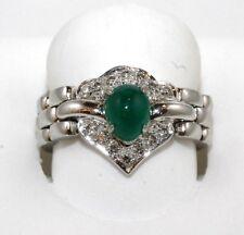 Fine Oval Cabochon Emerald & Diamond Solitaire Flexible Ring Platinum 8.73Ct