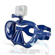 Snorkel Mask Frameless Diving Mask with Mount for Gopro, Anti-Fog Tempered Blue