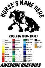 """2 x 22"""" (cob/gypsy horse) HORSE TRAILER, VAN CAR DECALS VINYL GRAPHICS STICKER"""