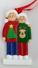 Personalized Family Couple Two 2 Ugly Sweater Christmas Tree Ornament Holiday