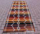 Orange Tribal Kilim Area Rug Cappadocia Handmade Striped Vintage Carpet 4x8 ft