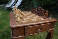 HAND CARVED CHESS TABLE AND FIGURES - AUTHENTIC SOLID WALNUT WOOD