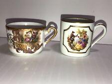 2 Gorgeous Fancy Limoges France Tea Cups White & Gold Bottom Green Mark
