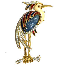 Authentic HATTIE CARNEGIE Pin Brooch Enamel Rhinestone Heron Crane Bird