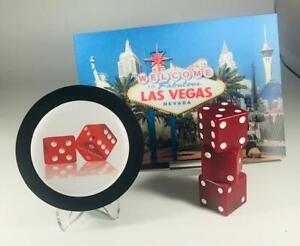 CUTE~ Lenticular Vegas Postcard + Matching RED DICE POWDER & LIPSTICK COMPACT