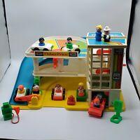 Vintage Fisher Price - Little People Parking Garage (1987) #2504 -  SET + Extra