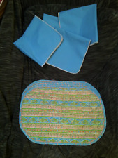 4   AVON Placemats & Napkins Southwestern Teal Blue Coral Dining Table Linen