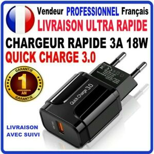 Chargeur Secteur USB Rapide MURALE USB 5V 3A Quick Charge 3.0 18W Iphone Samsung