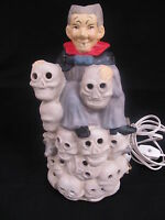 Dracula And Skulls Creepy Halloween Night Light Porcelain 6 Foot Cord New Boxed