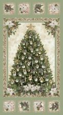 A Very Merry Christmas Quilting Cotton Fabric Panel Wall Hanging Tree Ornaments