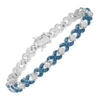 XOXO Tennis Bracelet with Blue Diamond in Sterling Silver-Plated Brass, 7 1/4""