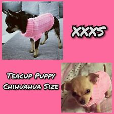 Tiny Teacup Chihuahua Puppy Dog Tiny Size Pink Knit Clothes Pet Jumper XXXS