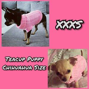 XXXS Teacup Chihuahua Puppy Tiny Size Pink Knit Clothes Pet jumper XXXS Cat XXS