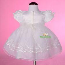 Beaded Ivory Baby Baptism Christening Dress Gown Cape Bonnet Wedding Size 1 #008
