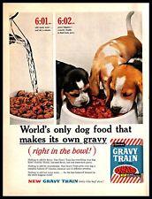 1961 Gravy Train Dog Food Vintage PRINT AD Beef Chunks Hound Puppies Pets 1960s