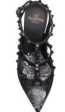 NIB Valentino Rockstud Black Chain Rose Print TStrap Leather Heel Pump Shoe 39.5