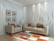 33ft Home Bedroom Silver Luxury 3D Wave Flocking Wallpaper Rolls Wall Papers 10m