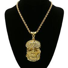 "14k Gold Plated Hip Hop Fully cz Skull/Snake Pendant w/ 6mm 30"" Rope Chain"