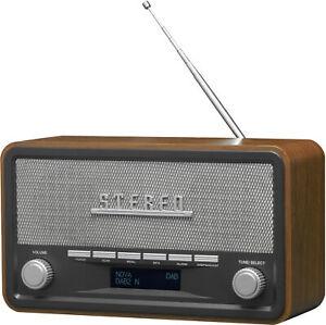 Denver DAB Radio DAB-18 Retro-Design Weckfunktion Bluetooth braun schwarz