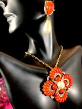 MARVELLA NECKLACE CORAL CABOCHON MALTESE CROSS PENDANT FAUX PEARL CLIP EARRINGS