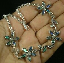 "Anklet 9""-11 1/4"" Green Purple Blue Paua Abalone Flower Crystal Silver Plated"