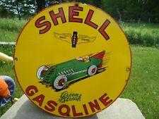 OLD VINTAGE SHELL GREEN STREAK GASOLINE PORCELAIN ADVERTISING SIGN GAS