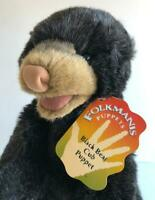 "Folkmanis Black Bear Cub Puppet Large 15"" Full Body Plush New with Tags"