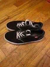 Vans Mens Womens Black White Canvas Lace Up Low Top Skateboard Shoes 10.5