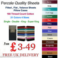 FITTED,FLAT & FITTED VALANCE SHEETS PERCALE SINGLE DOUBLE KING