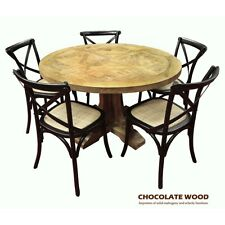 VALENTINA  Solid oak round dining table + 5 black chairs - Dia. 120cm